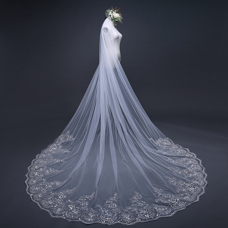 White Ivory 4 Meter Cathedral Wedding Veils With Comb Long Lace Applique Edge Bridal Veil Wedding Accessories Bride Wedding Veil