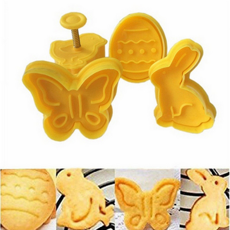 4Pcs Butterfly Bunny Pattern Plastic Baking Mold Kitchen Biscuit Cookie Cutter Pastry Plunger Die Fondant Cake Decorating Tools