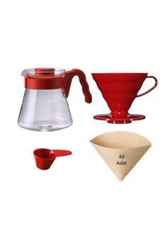 V60 Coffee Server 02 Set Red #8211 V60 02 zestaw do parzenia kawy (czerwony) tanie i dobre opinie TR (pochodzenie)