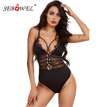 SEBOWEL Sexy Black/White Sheer Lace up Bodysuit Woman Summer Sleeveless Adjustable Spaghetti Straps Sheer Strappy Lady Body Tops lace up side sleeveless bodysuit