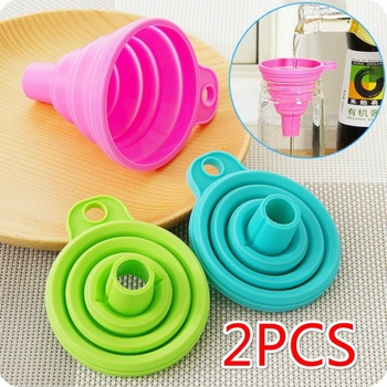 2PCS Silicone Folding Telescopic Long Neck Funnel Creative Household Liquid Dispensing Mini Funnel Kitchen Tools