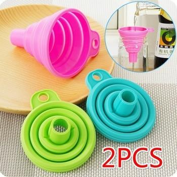 2PCS Silicone Folding Telescopic Long Neck Funnel Creative Household Liquid Dispensing Mini Funnel Kitchen Tools