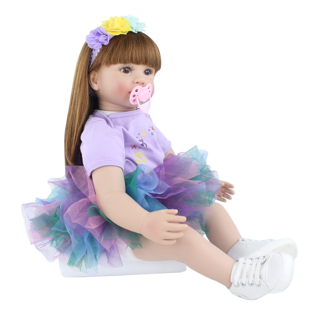 60cm Silicone Vinyl Reborn Baby Doll Toys Princess Toddler Babies Like Real Girls Bonecas High end
