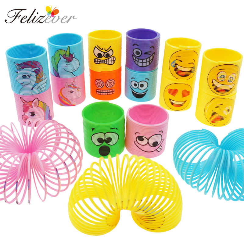 12PCS Mini Rainbow Magic Springs Toys Happy Face Unicorn Kids Birthday Party Favors Classroom Prizes Goodie Bag Pinata Fillers