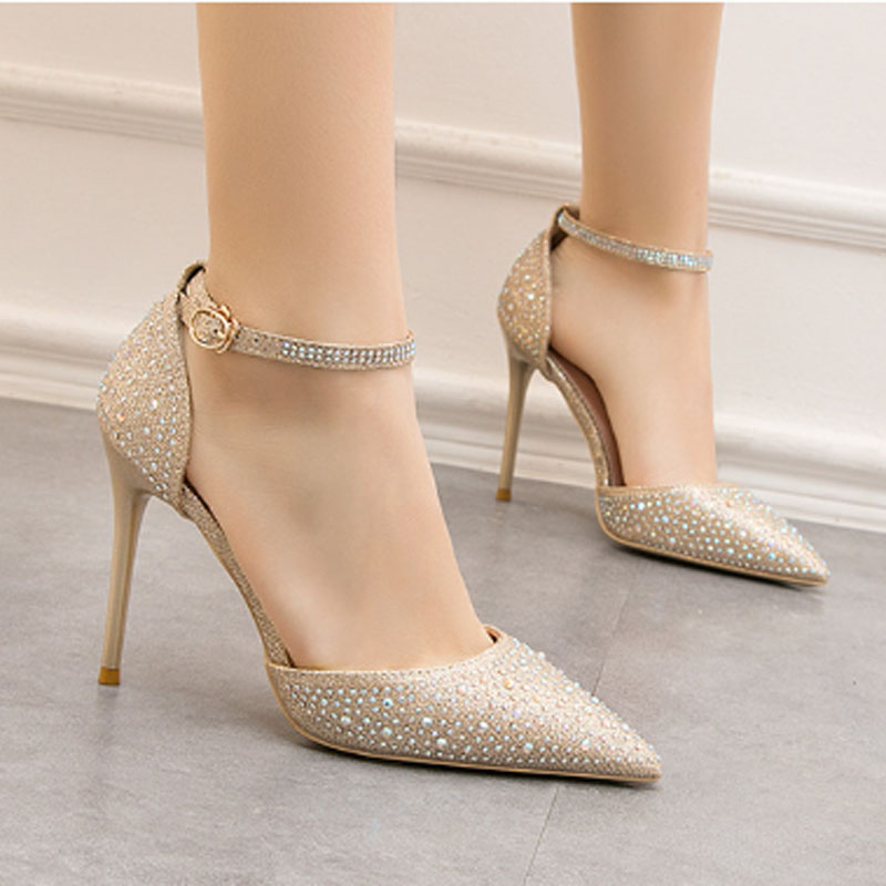 Ladies sexy high heels fashion shallow mouth pointy hollowed-out word with sparkling water diamond female wedding sandals