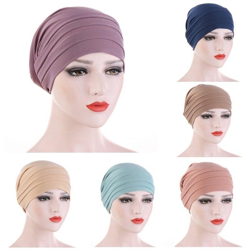 Новый мусульманский Для женщин накрест шелка сна химиотерапия шляпа шапочка-тюрбан шапки и шарфа рака шапка Хемо Кепки хиджаб Головные убо...