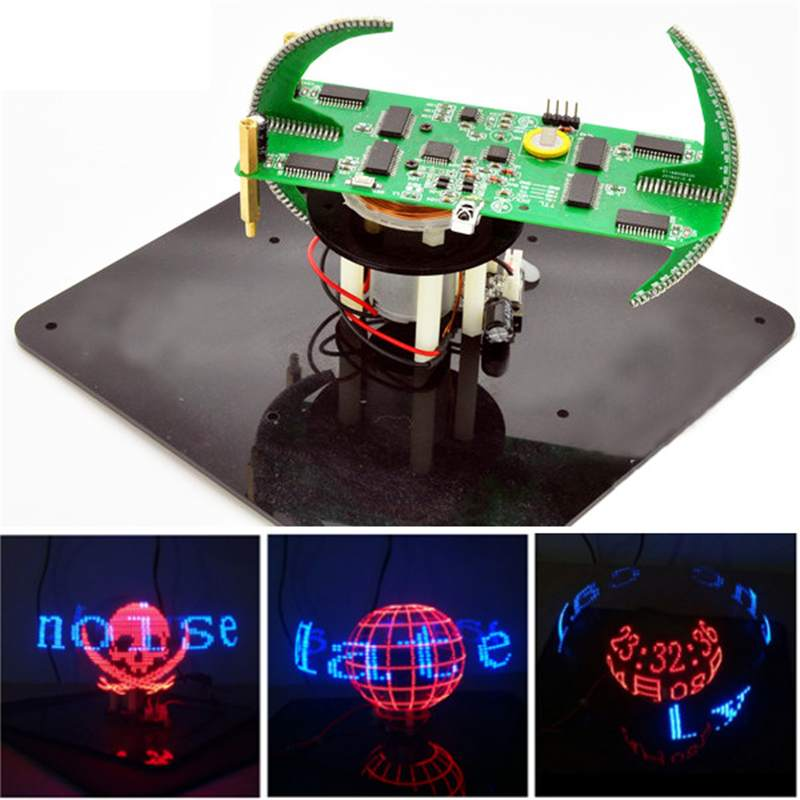 DIY Biaxial Spherical Rotating LED Flash Kit Creative POV Soldering Training Kit Creative Diy Electronic Display Remote Control