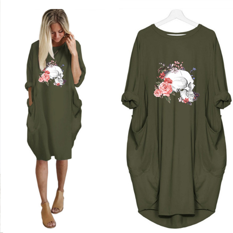 Women Loose Dresses Long Sleeve Dress Plus Size Harajuku Skull Print Casual Robes Femme Vintage o Neck Pocket Party Vestidos 202