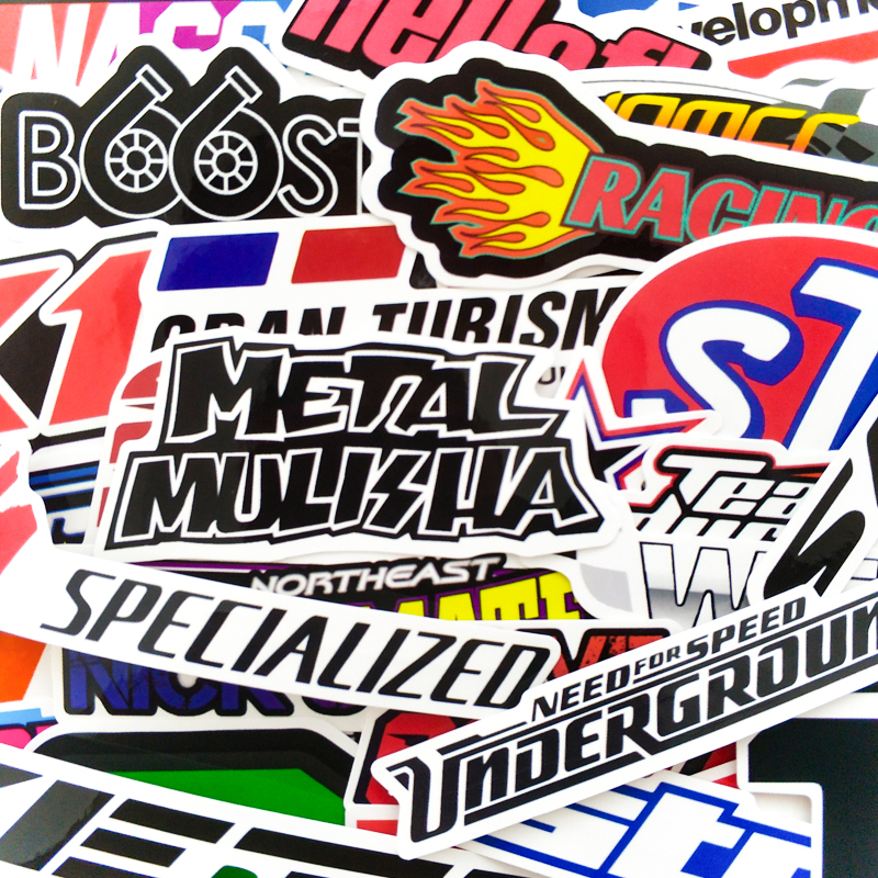 100PCS Racing Car Stickers Waterproof Sticker DIY Motocross Racing Helmet Skateboard Bicycle Laptop PVC JDM Luggage Sticker
