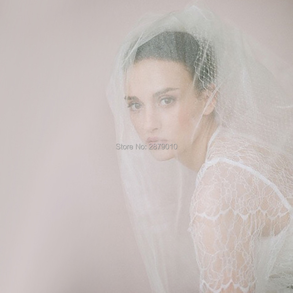 Hot Sale Cheap Simple Two Layers Short White/Ivory Tulle Bridal Veil With Hair Comb Bridal Veil Head Veil Wedding Accessories