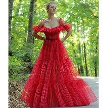 Verngo bir çizgi Gece Elbisesi kırmızı zarif nokta tül resmi elbise uzun Boho balo parti törenlerinde Abiye Gece Elbisesi