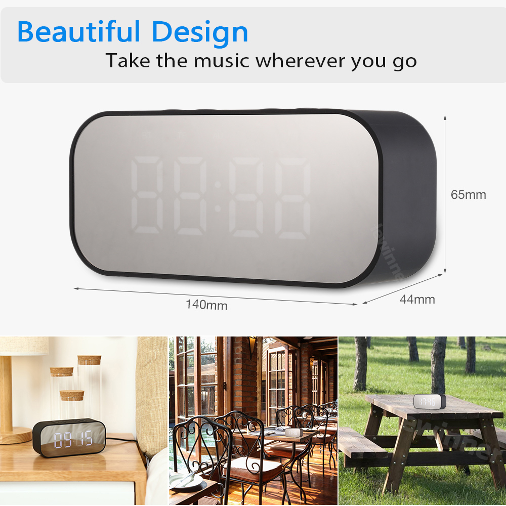Image 5 - Lewinner Multifunction Wireless Bluetooth Speakers with Clock Home Mini LED Display Digital Table Alarm Clock for Office Bedroom-in Portable Speakers from Consumer Electronics