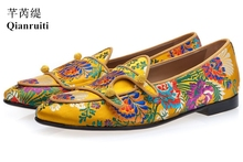 Buy Qianruiti Canvas Men Multicolor shoes Yellow Men Floral Shoes Jacquard Double-monk Belgian Embroidery Heel Flat Loafers directly from merchant!