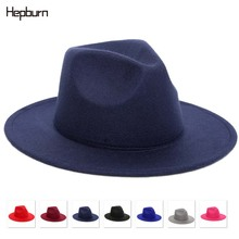 Hepburn brand 2019 Fashion lace outdoor casual hat summer spring black woolen blend cap Jazz Lady Wide Brim Fedoras Gambler Hat