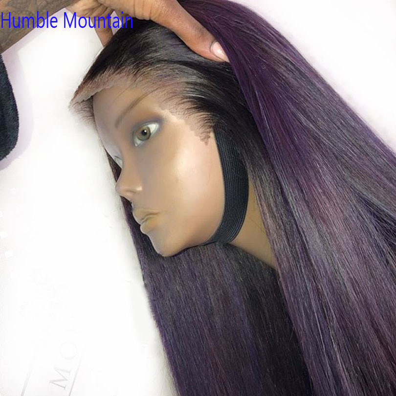 Ombre Purple Colored Silky Straight Full Ace Human Hair Wigs Remy Brazilian 370 Wigs For Women Free Part Could Do Ponytail