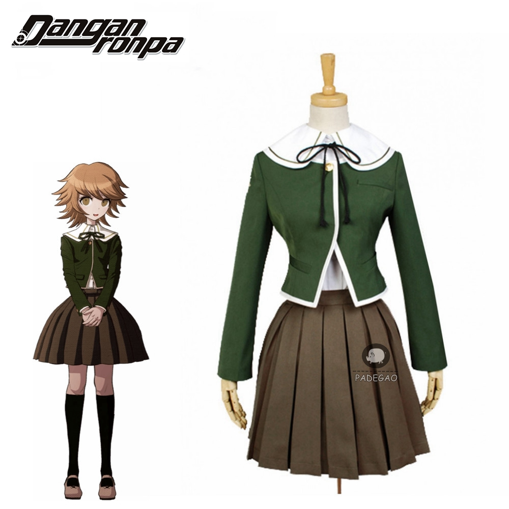 Danganronpa Chihiro Fujisaki Cosplay Women School Uniform Coat Shirt Dress Outfit Anime Cosplay Costumes And Wig Halloween