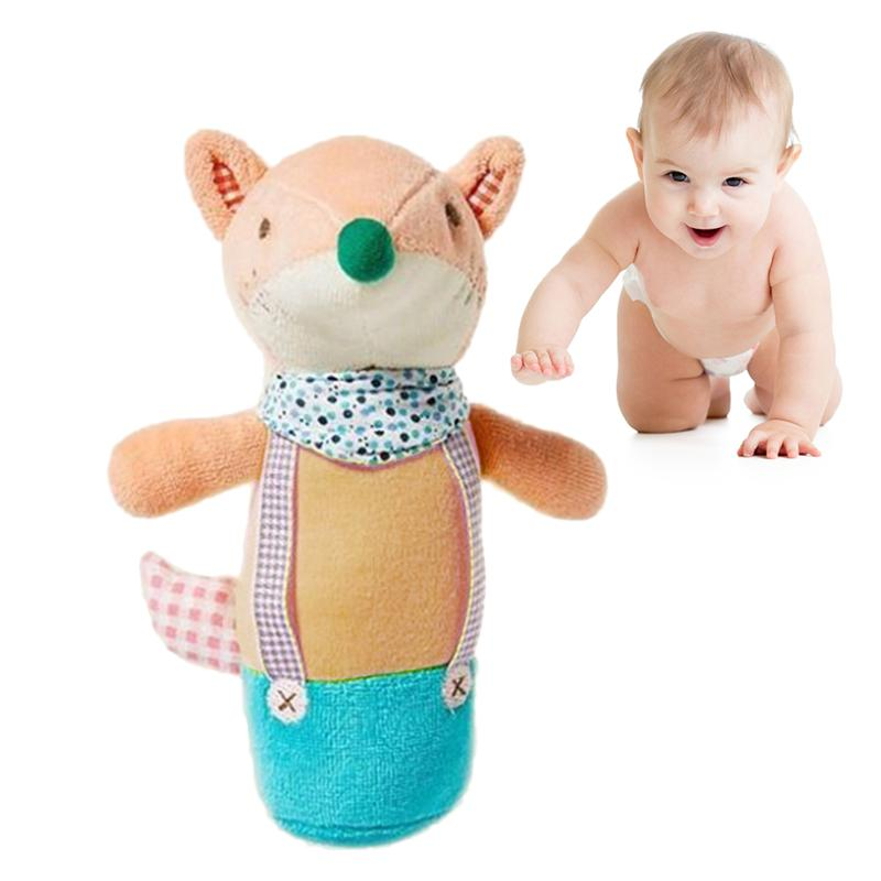 1pc Baby Cartoon Stuffed Animal Toy Baby Soft Plush Hand Rattle Toy Educational Development Toy(Little Squirrel)