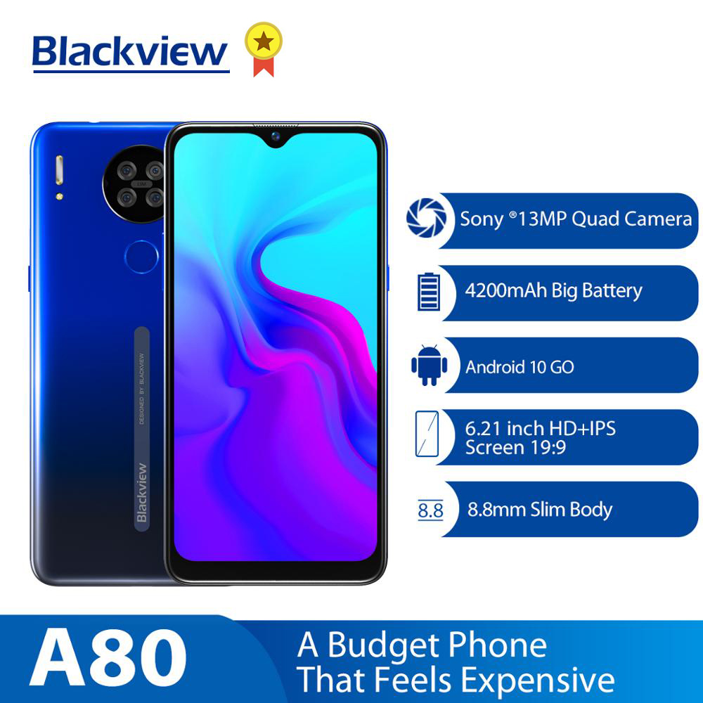 Blackview A80 6.21 Inch Waterdrop Screen Mobile Phone 2GB 16GB MT6737V/W Cellphone 4200mAh 4G Smartphone Android 10.0 Go Face ID