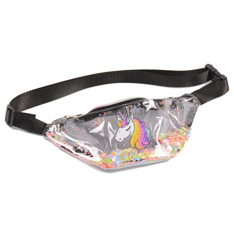 New Fashion PVC Fanny Pack Women Girl Belt Bum Bags Cartoon Unicorn Clear Transparent Sequin Cross Body Bag Brand Waist Bag