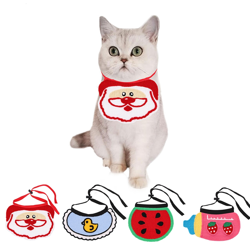 Lovely Adjustable Cat Dog Bibs Scarf Collar Scarf Waterproof Saliva Towel Drool Dribble Cute Bibs for
