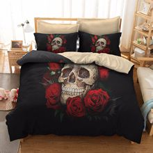 3D Printed  Rose Skull Black Duvet Cover Bedding Set Bed Twin Full Queen King Size 3PCS 3pcs christmas fawn red bed sets luxury full size queen king size duvet cover rock parure de lit bedding set e