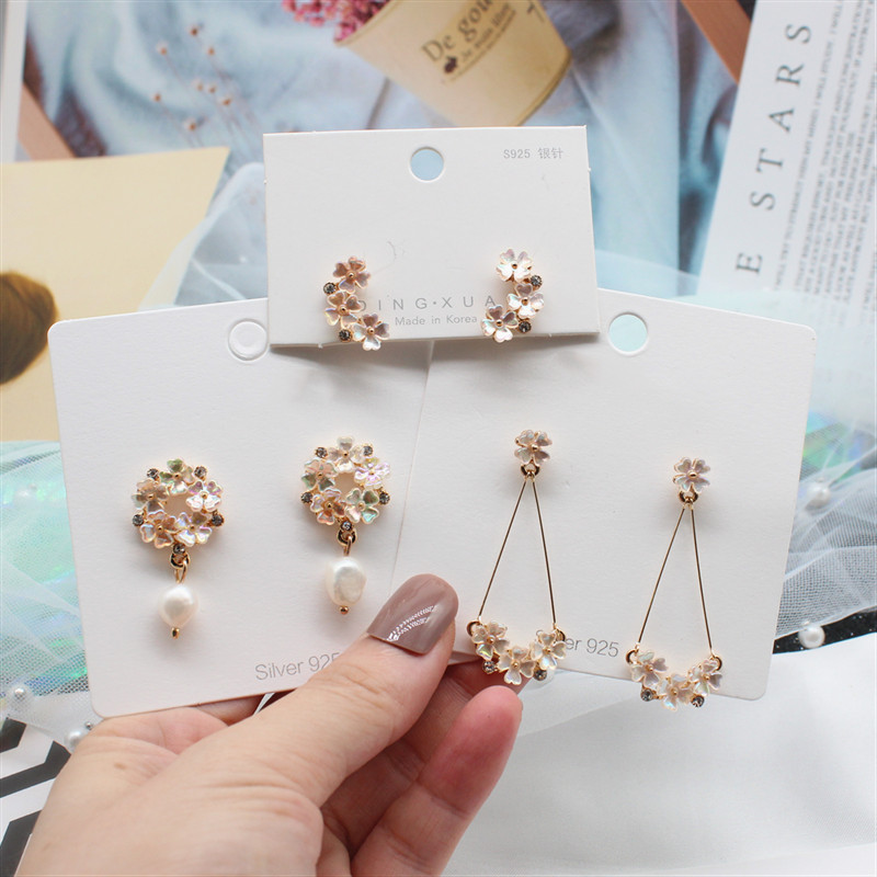 2019 Korea New Design Fashion Jewelry Elegant Sweet Color Shell Flower Earrings Freshwater Pearl Crystal Earrings for women(China)