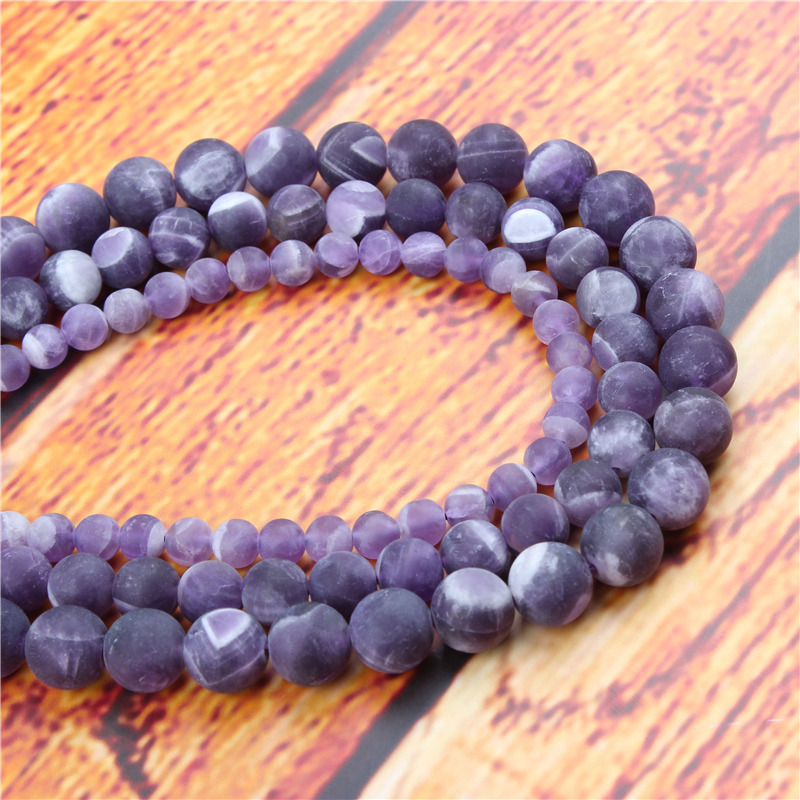 Frosted Amethyst Natural Stone Bead Round Loose Spaced Beads 15 Inch Strand 6/8/10/12mm For Jewelry Making DIY Bracelet