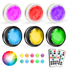 RGB Color Puck Lights LED Under Cabinet Night Light Dimmable Touch Sensor Lamp with Remote Control Diamond Wardrobe Lighting