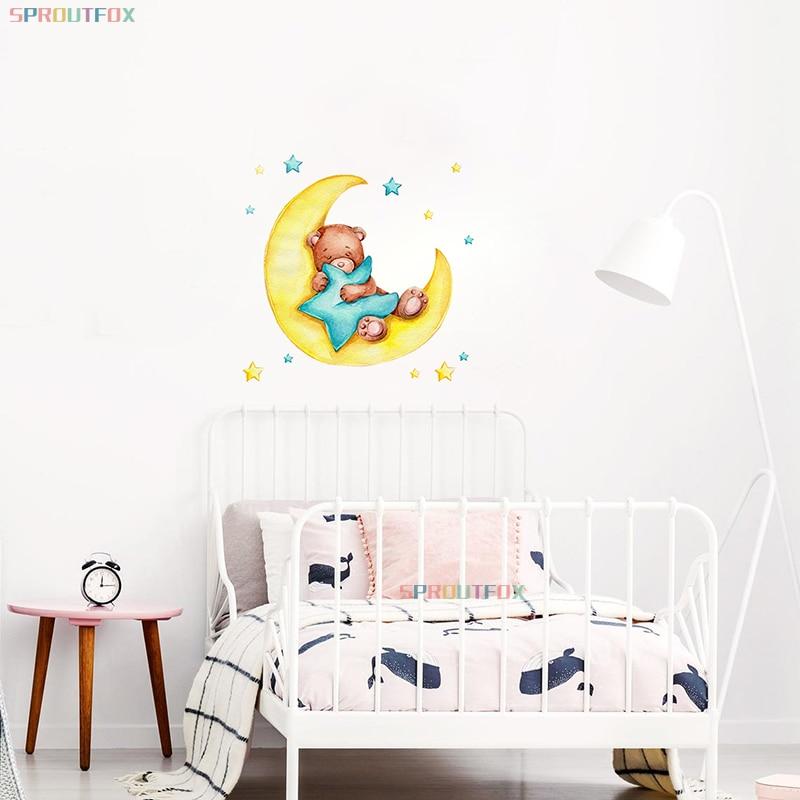Детские Настенные стикеры в виде медведя, спящего на Луне, наклейки для детской комнаты, животные для мальчиков, Современная художественная...