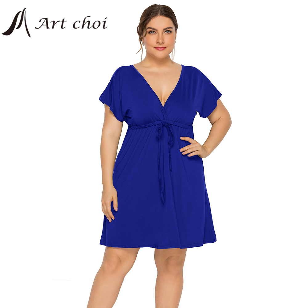 Summer Women Midi Solid Dress Female Boho Beach Elegant Skirt V-Neck Ruffle Sleeve Ladies Bandage Belt Party Vestido Plus Size