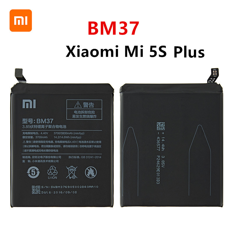 Xiao <font><b>mi</b></font> 100% Orginal BM37 3800mAh <font><b>Battery</b></font> For Xiaomi <font><b>Mi</b></font> <font><b>5S</b></font> Plus MI5S Plus BM37 High Quality Phone Replacement <font><b>Batteries</b></font> image