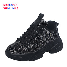 Krasovki Genuines Sneakers Women Spring Autumn Fashion Thick Bottom Dropshipping Breathable Crystal Polka Leisure Shoes