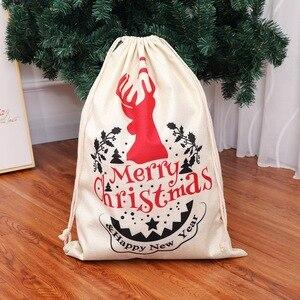 Image 5 - Grande tamanho sacos de natal santa sacos feliz natal natal festa feliz ano novo feriado diy decorações favor presentes sacos