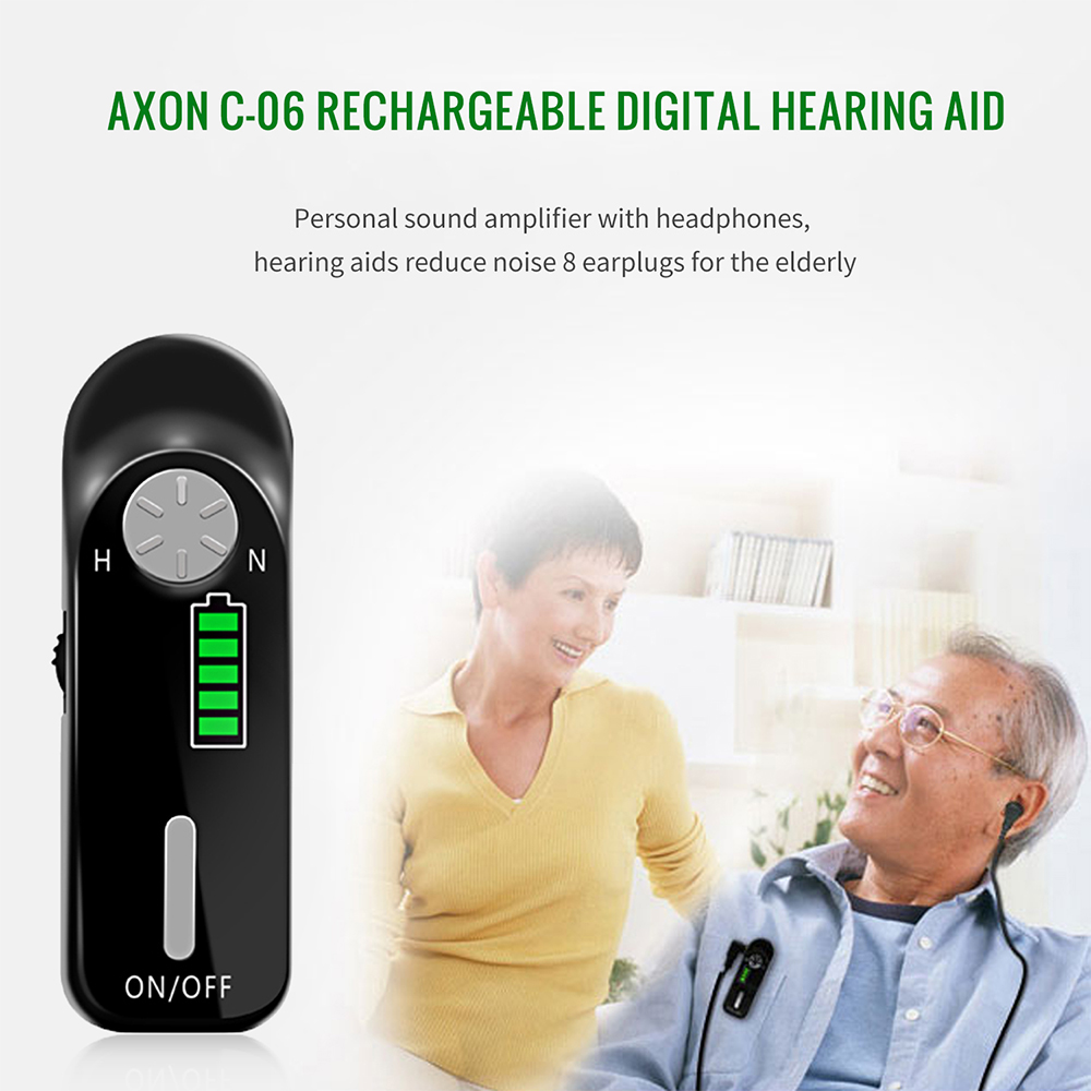 Portable Rechargeable Mini Digital Hearing Aid Sound Amplifiers 2.5mm Wired Ear Aids for Elderly Hearing impaired USB Charge