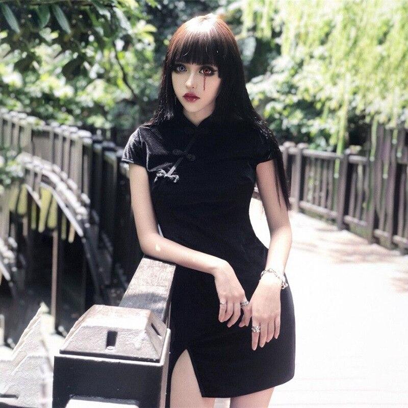 2020 Chinese Party Dress Sexy Cheongsam Bodycon Qipao Dress Cheongsam Floral Print Halter Backless Hollow Out Mandarin Collar