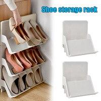 Prateleira multicamada para sapatos  2 peças  estilo nórdico  montagem vertical  à prova de poeira  prateleira de armazenamento de sapatos de plástico gq151