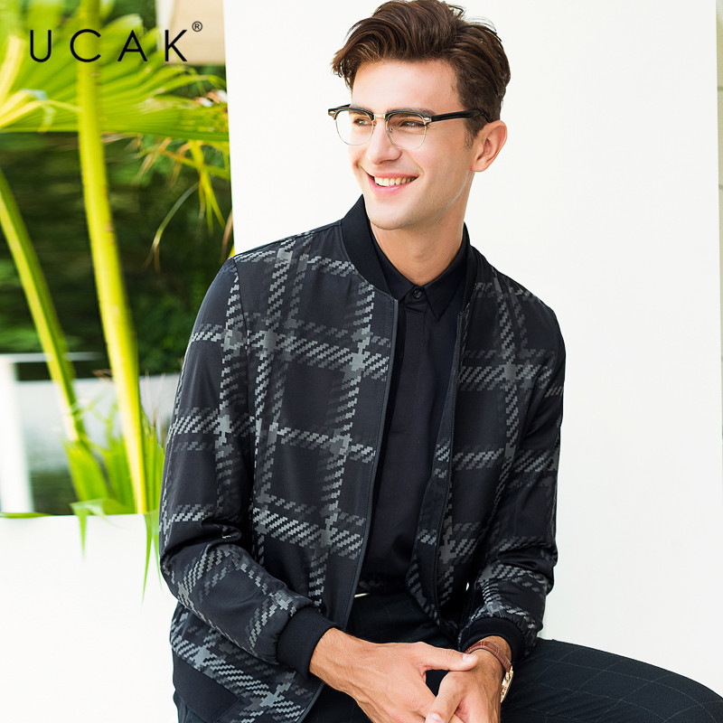 UCAK Brand Fashion Plaid Jacket Men Business Casual Coat Men Clothes 2019 New Arrival Autumn Winter Mnes Jackets And Coats U8010