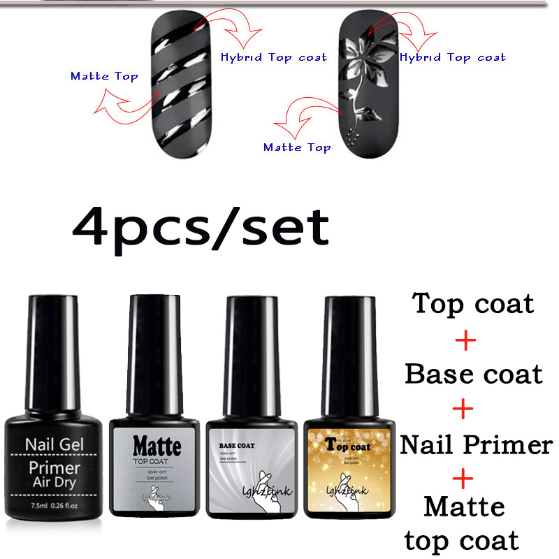 4pcs/set Top And Base Coat 8ml UV Gel Nail Primer Nail Gel Soak Off No Wipe Primer Gel Long Lasting Nail Primer Gel Varnishes