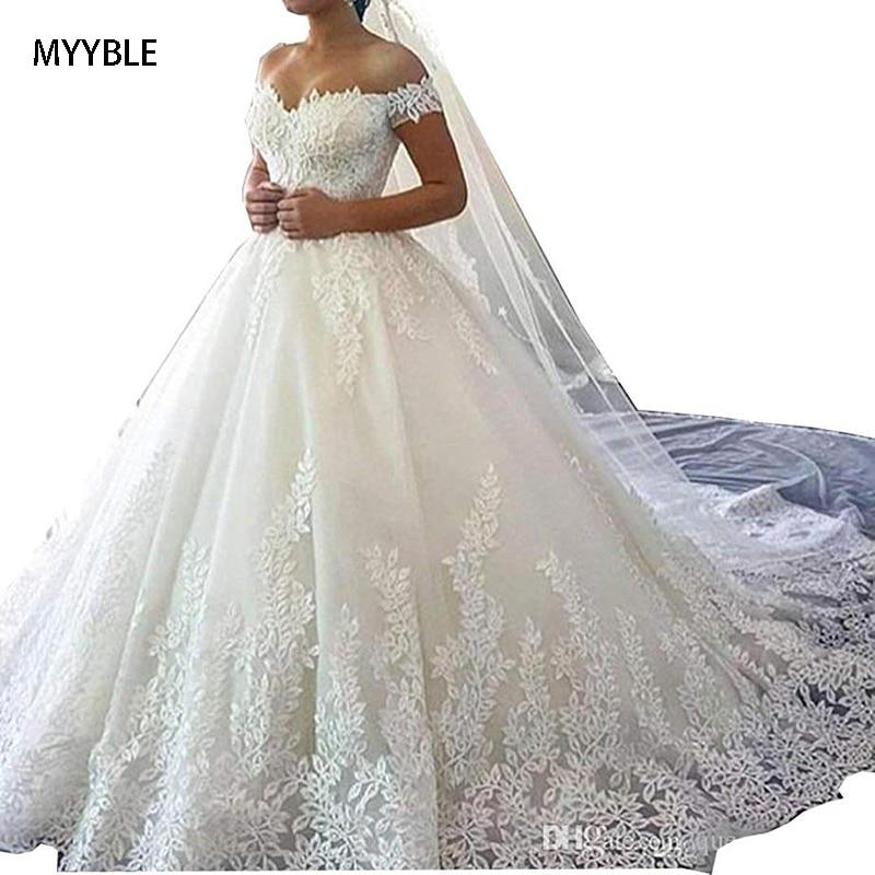 2020 MYYBLE White Off The Shoulder Vestido De Noiva Wedding Dress Train Custom-made Plus Size Bridal Tulle Mariage Boho