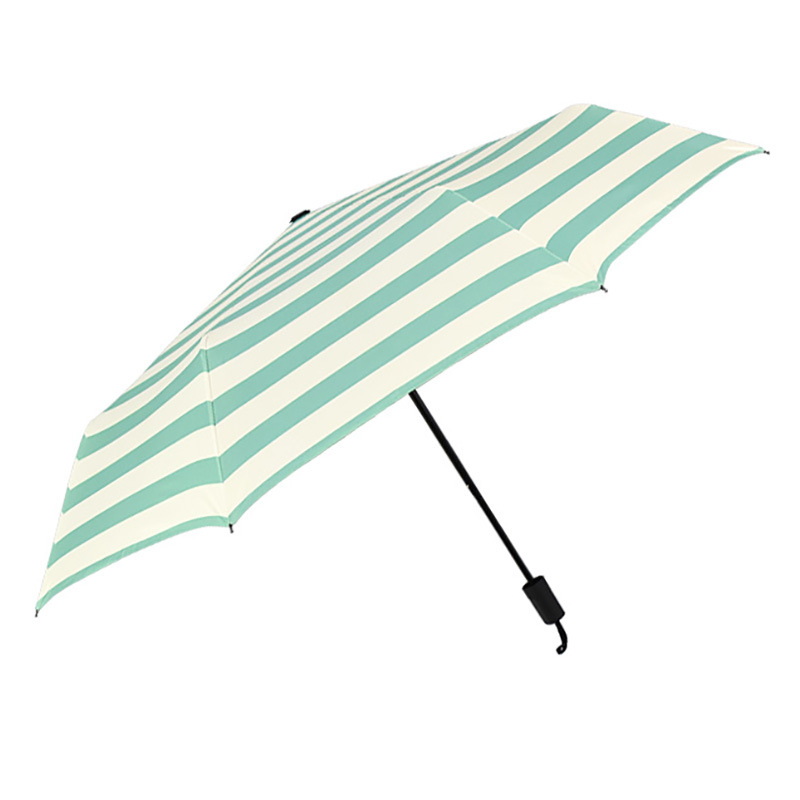 Vinyl Hipster Green Navy Stripes Umbrella Ultra-strength Sun-resistant All-Weather Umbrella 21-Inch Adult College Style Folding