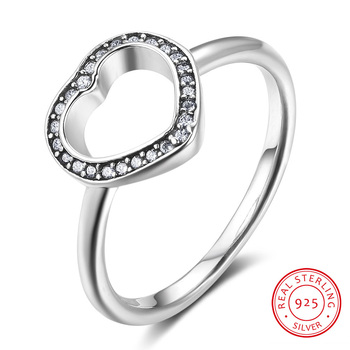 Vintage 925 Sterling Silver Female Finger Rings Wedding Engagement Rings for Women Hollow Heart Rings Silver 925 Jewelry slovecabin real 925 sterling silver link chain lock finger rings for women vintage napkin wedding rings for women bijoux female