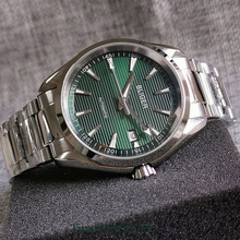 Watch-Date-Display Crystal-Screw In-Crown Nh35a-Green Automatic Dial Sapphire 40mm Stainless-Steel