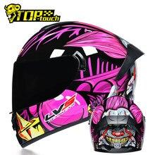 Lvs novo capacete da motocicleta das mulheres dos homens casco moto motocross equitação capacete de corrida rosto cheio fora da estrada moto dot aprovado