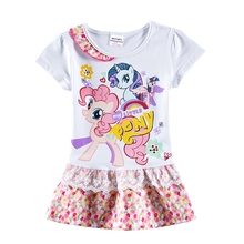 Girls Short Sleeve Little Pony Cotton Dress Summer Embroidery Cartoon Unicorn Childrens Clothes Casual