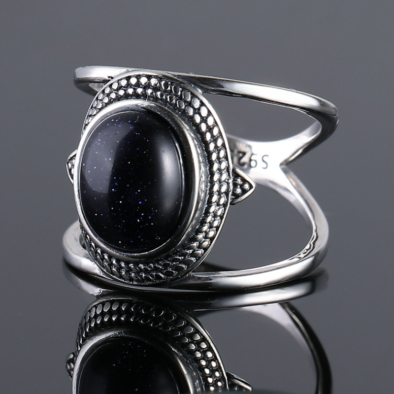 Nasiya Luxury Oval Blue Sandstone Rings For Women Solid 925 Sterling Silver Jewelry Gemstone Rings Party Gift