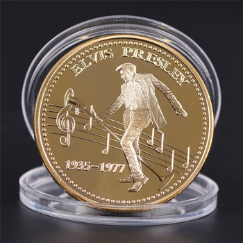 1PC Elvis Presley Commemorative Coin 1935-1977 The King of N Rock Roll Gold Commemorative Coin Gift Dropship image