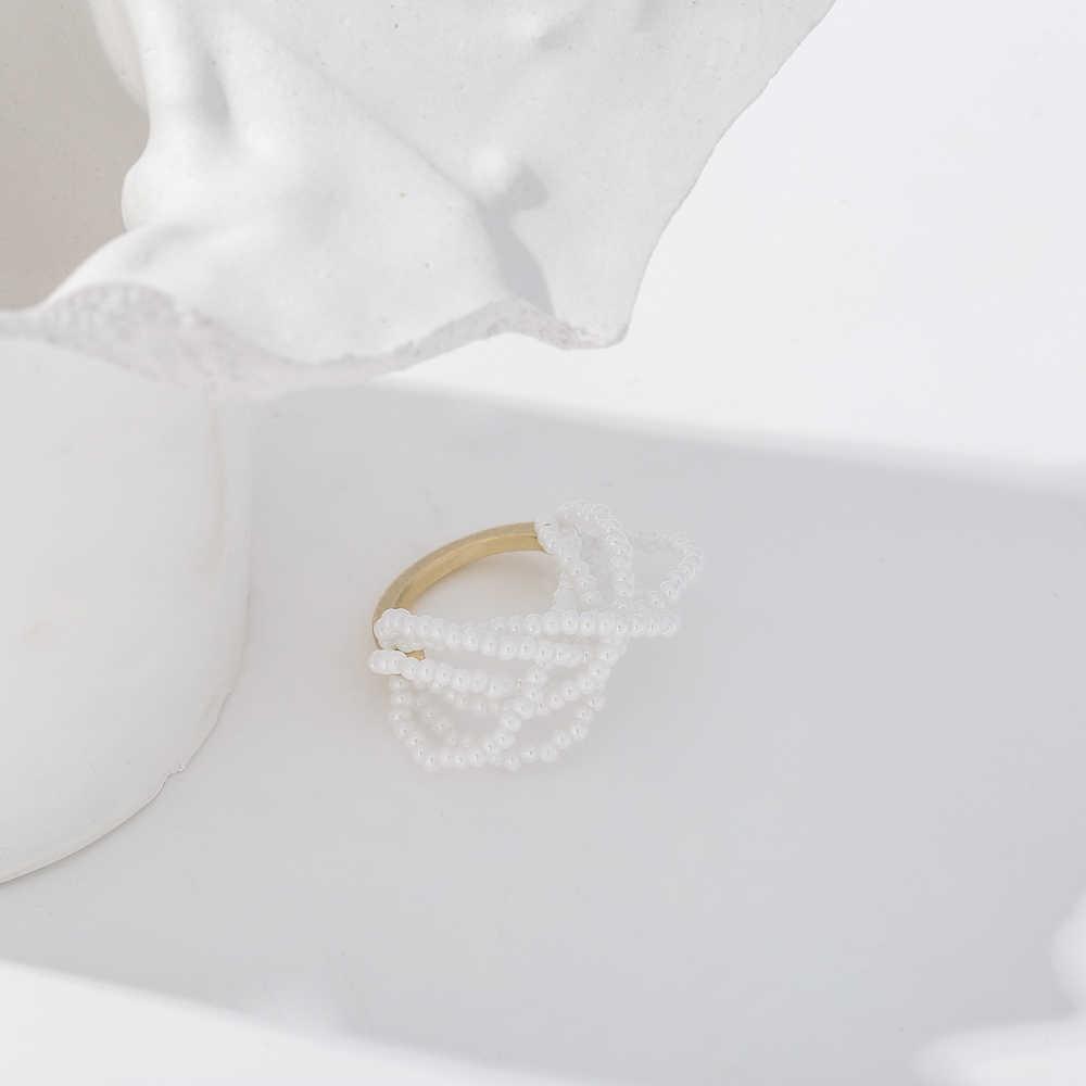 Yhpup ไข่มุกเทียมด้วยตนเองแหวนโลหะผสมสังกะสีเครื่องประดับแฟชั่นเรขาคณิต Hollow สำหรับสุภาพสตรี Bagues Pour Femme PARTY ของขวัญ 2020