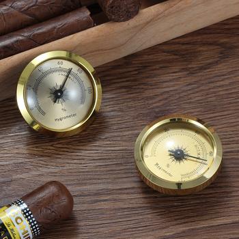GALINER złoty cygaro higrometr okrągły precyzyjny cygaro Humidor higrometr akcesoria Mini kieszeń miernik wilgotności tanie i dobre opinie CN (pochodzenie) HA-13 Plastic Cigar Hygrometer Humidor Cigar Case 45*15mm Simple Package