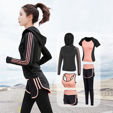 Women Tracksuit Yoga Set Solid Patchwork Running Fitness Jogging T-shirt Leggings Gym Sports Suit Sportswear Clothes S-2XL