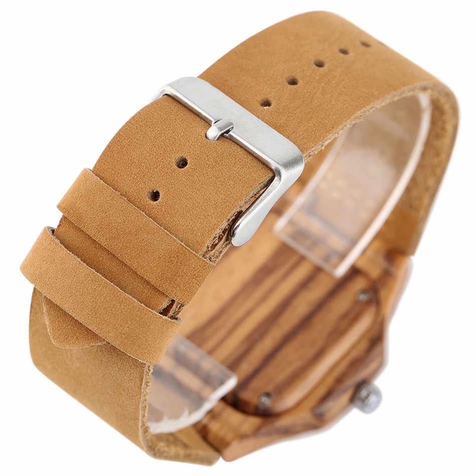 REDFIRE كلاسيكي فاخر براون ساعة خشب السيدات حقيقية ساعة يد جلدية الإبداعية ساحة الطلب أنيقة المرأة ساعة خشب reloj